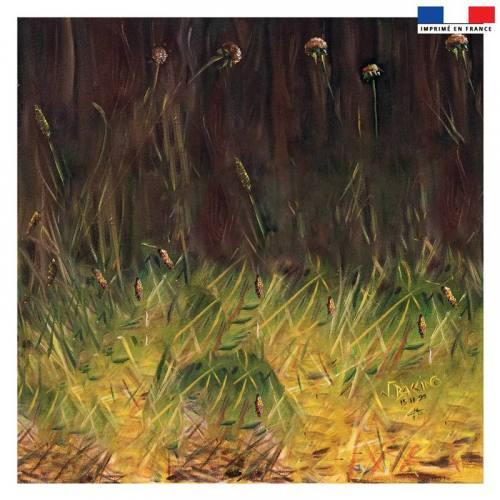 Coupon 45x45 cm motif pairie - Création Véronique Baccino