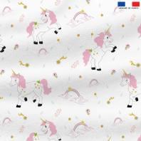 Polaire blanche motif licorne et arc-en-ciel