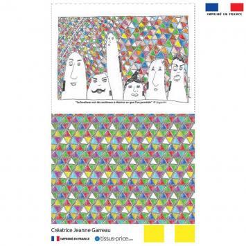 Kit pochette canvas motif tribu et triangles multicolores - Création Jeanne Garreau