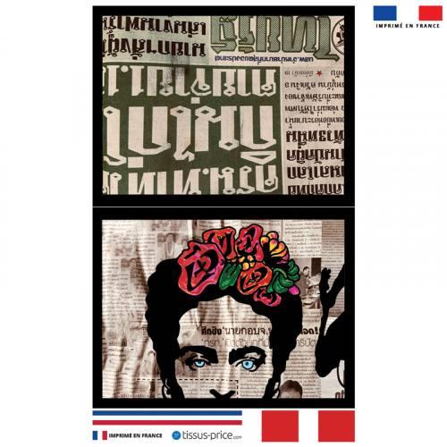 Kit pochette canvas motif Femme mexicaine - Création Anne-Sophie Dozoul