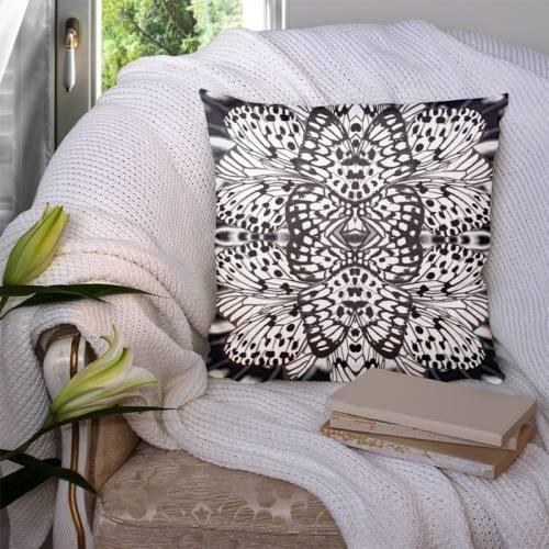 Coupon 45x45 cm motif papillon noir - Création Lou Picault