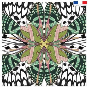 Coupon 45x45 cm motif papillon vert - Création Lou Picault