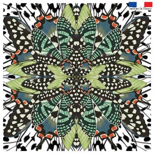Coupon 45x45 cm motif papillon vert et orange - Création Lou Picault