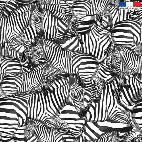 Velours blanc motif zèbre noir - Création Lou Picault