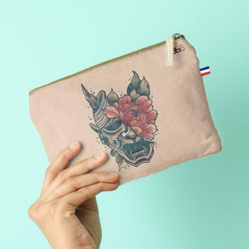 Kit pochette motif crâne et fleur rouge - Création LAB6