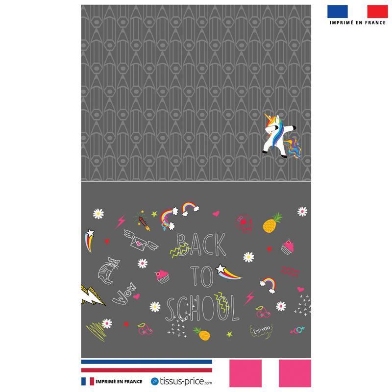 Kit pochette canvas grise motif back to school rose