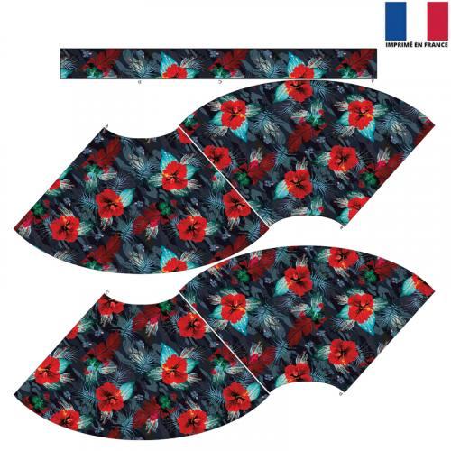 Kit Jupe Courte - Camouflage et fleur rouge