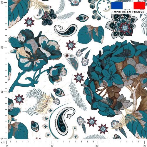 Tableau floral - Fond écru