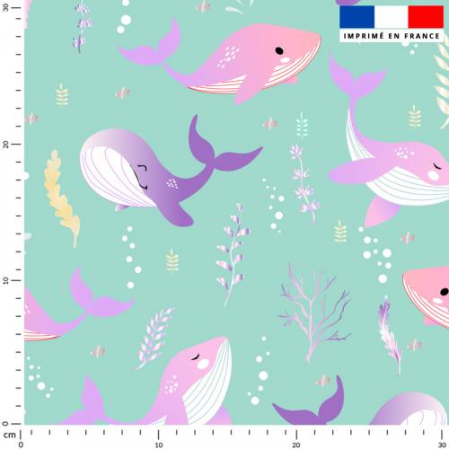 Baleine rose et violette - Fond vert d'eau