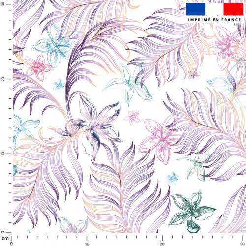 Feuille violette et fleur bleue - Fond écru