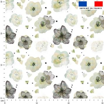Fleur vert amande effet aquarelle - Fond écru