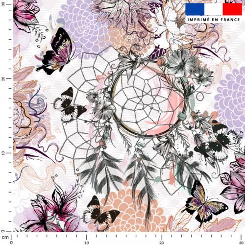 Attrape-rêve fleur et papillon rose - Fond écru