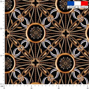 Foulard chaîne et ruban - Fond noir
