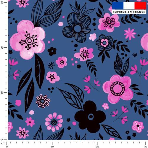 Iris roses - Fond bleu