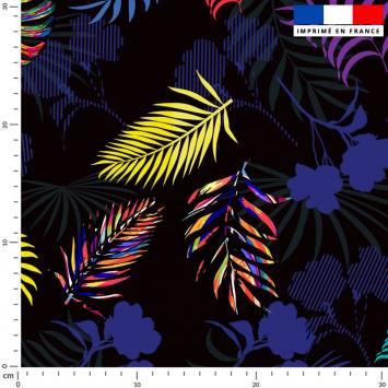Palme multicolore et feuille bleue rouge jaune - Fond noir