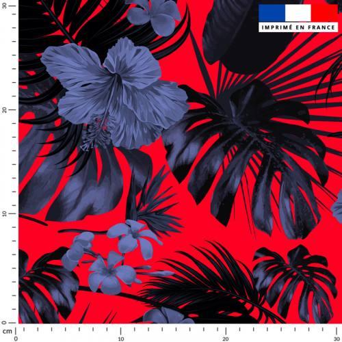 Fleur hibiscus bleue - Fond rouge