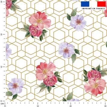 Alvéoles irrégulières dorées et fleur rose et lavande - Fond écru