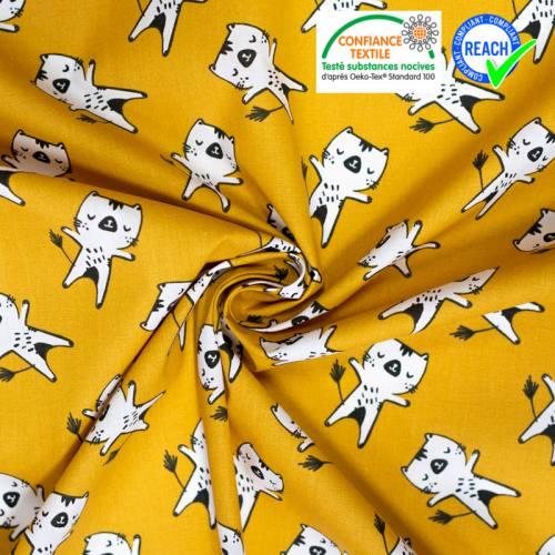coupon - Coupon 50cm - Coton ocre motif chat blanc wizy