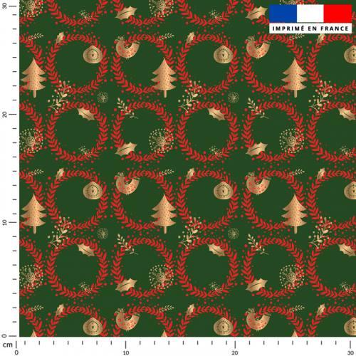 Couronne de Noel rouge - Fond verte
