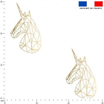 Licorne origami effet dégradé doré - Fond écru