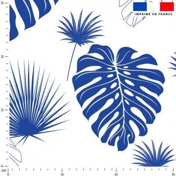 Feuille de palmier bleu majorelle - Fond écru