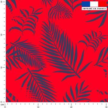 Feuille de palmier bleu turquin - Fond rouge vif