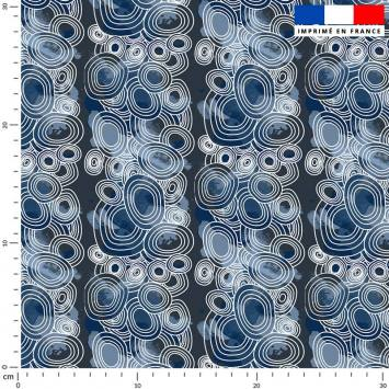 Rond géométrique blanc - Fond bleu
