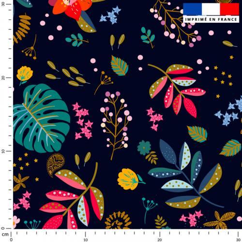 Mur floral feuilles bleues et rouges - Fond bleu de minuit