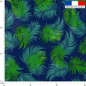 Feuilles tropicales vertes - Fond bleu