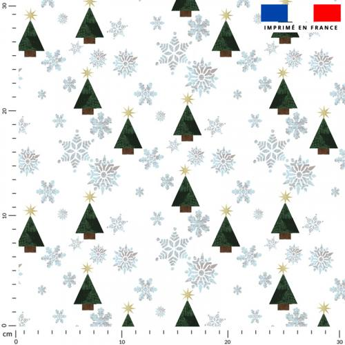 Noël sapin et flocons - Fond écru