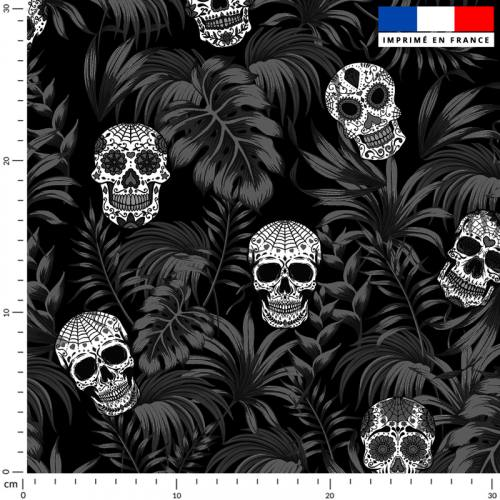 Jungle tête de mort blanche - Fond noir