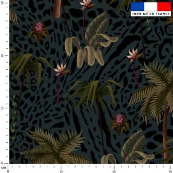 Palmier et léopard - Fond bleu