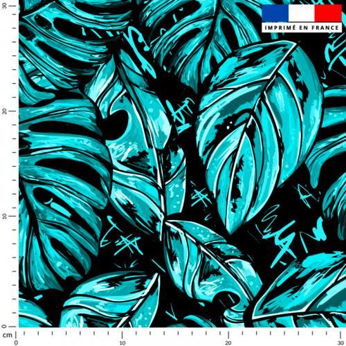 Feuille pop bleue et blanche - Fond noir