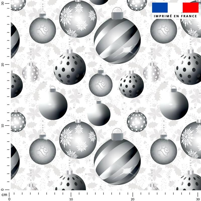 Velours ras écru motif boules de Noel silver