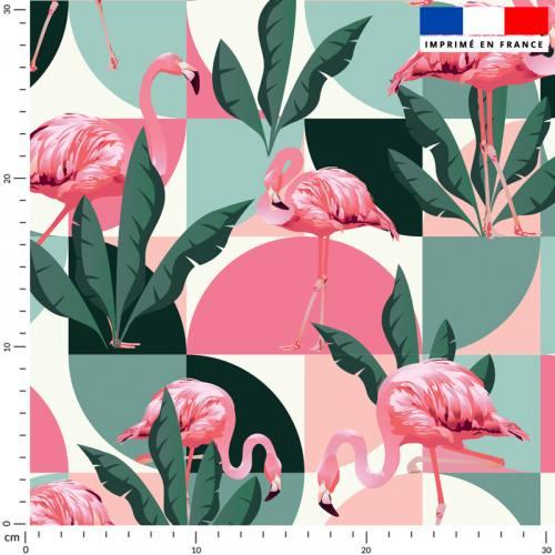 Flamant rétro rose et vert - Fond écru