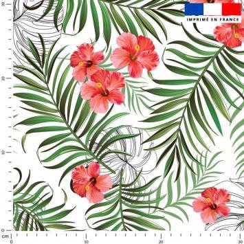 Jungle et fleur d'hibiscus - Fond écru