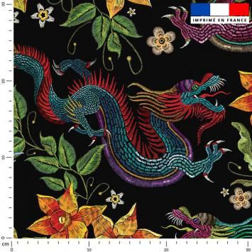 Dragon asiatique effet brodé - Fond bleu nuit