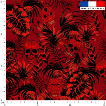 Jungle tête de mort rouge - Fond rouge
