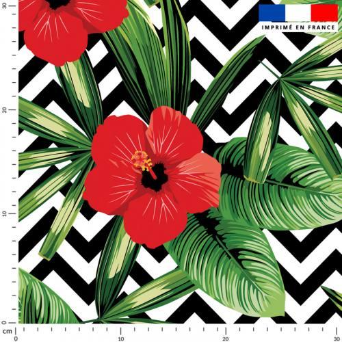 Hibiscus rouge - Fond scandinave noir et blanc