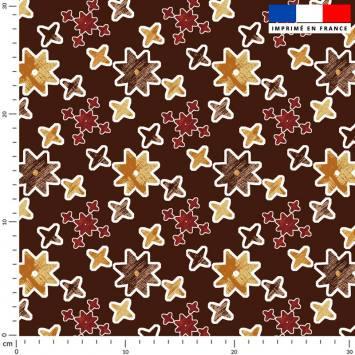 Etoile géométrique jaune et rouge - Fond marron