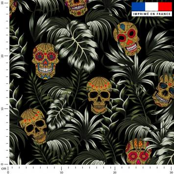 Jungle tête de mort ocre - Fond noir