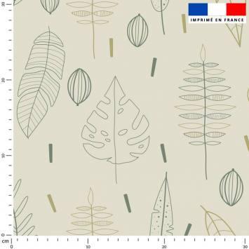 Silhouettes de feuilles vertes - Fond grège