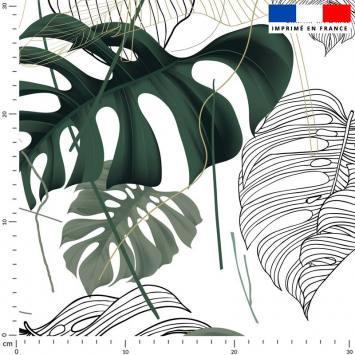 Dessin réaliste jungle vert - Fond écru