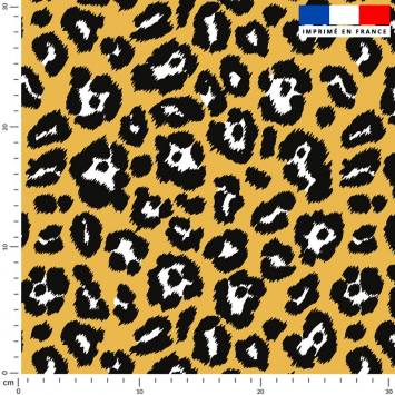 Léopard tacheté - Fond jaune