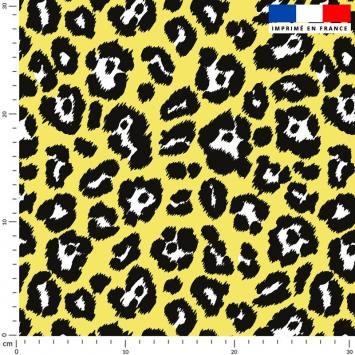 Léopard - Fond jaune fluo