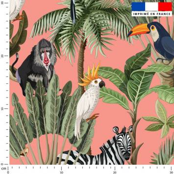 Jungle et animaux - Fond rose