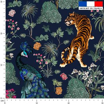Tiger asiatique - Fond bleu marine