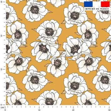 Fleur blanche - Fond jaune ocre