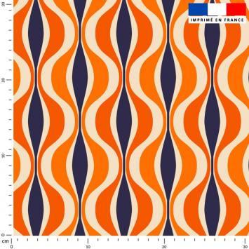 Forme géométrique rétro orange - Fond violet
