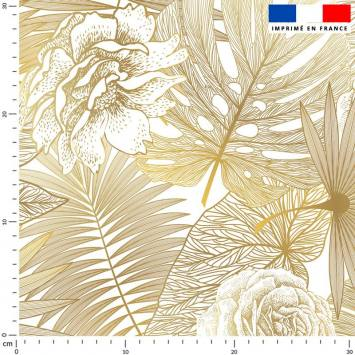 Jungle et rose dégradé jaune or - Fond écru